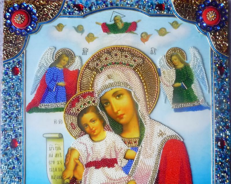 Богородица - вышивка бисером