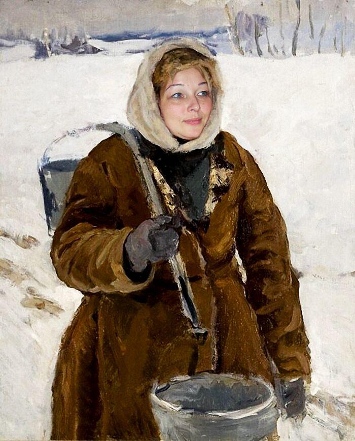 Женщина с пустым ведром